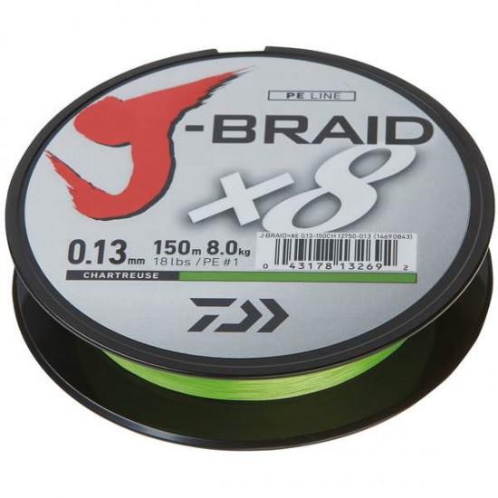 Daiwa J-Braid Fir textil 8Braid Chartreuse 0.16mm / 150m