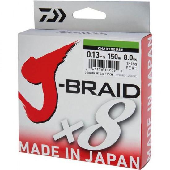 Daiwa J-Braid Fir textil 8Braid  Chartreuse 0.10mm / 150m