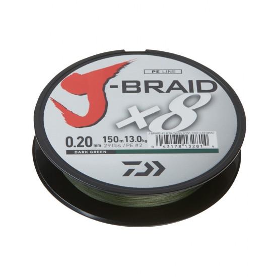 Daiwa J-Braid Fir textil 8Braid Dark Green 0.10mm / 150m