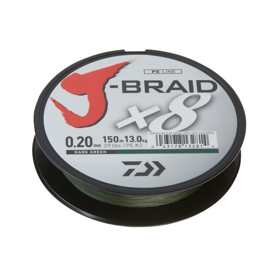 Daiwa J-Braid Fir textil 8Braid Dark Green 0.06mm / 150m
