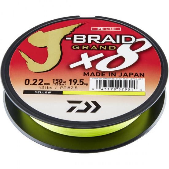 Daiwa Grand J-Braid Fir textil 8Braid Yellow 0.10mm / 135m