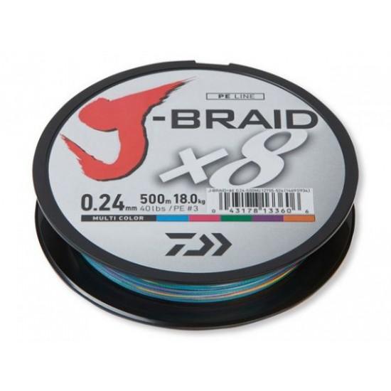 Daiwa J-Braid Fir textil 8Braid Multicolor 0.10mm / 150m