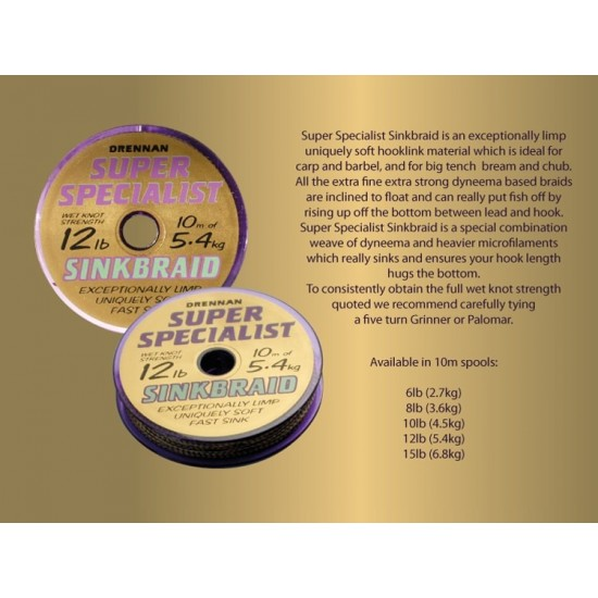 Drennan Super Specialist Sinkbraid - Fir Textil 8lb